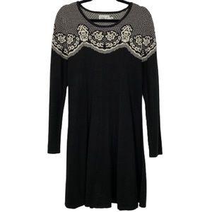 Eliza J Jacquard Knit Long-sleeve Sweater Dress